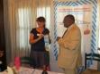 Jacky exchanging Rotary flags with Kinshasa Kingabwa Rotary Club president Joseph Sengo on Monday