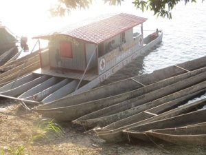 CDCC's ambulance boat, perched on three canoes, which serves riverside communities.     Boende is located 500 km from Equateur Province's capital, Mbandaka, on the Tshuapa River. The Ebola virus can be easily carried by unsuspecting river travelers.