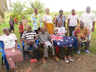 Safari is on the right (white shirt), pictured with the Lotumbe community development committee that is helping to fight the Ebola epidemic. The team appreciates resources made possible by Rotary Australia World Community Service (RAWCS).