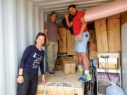 Dr Vera Sistenich drops off medical equipment. In August, she will travel with our RAWCS team to  Congo to conduct training in emergency medicine.