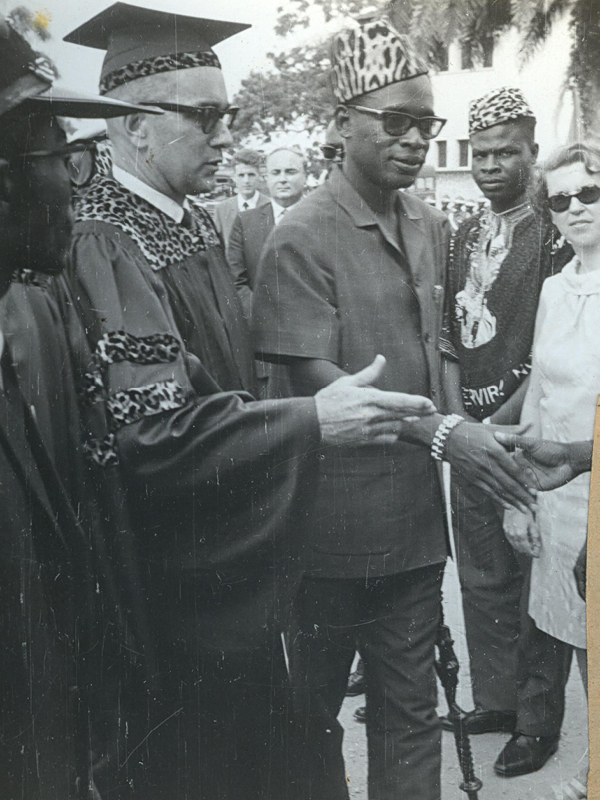 Campus visit: Ben (left) introduces university staff to Mobutu Sese Seko, then president of Zaire (now Democratic Republic of Congo).